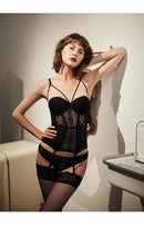 CINOON Gothic corset Bustier With Cup Girdle Set With Straps Transparent Underwear Women  Tops Lingerie Corsets with G-String