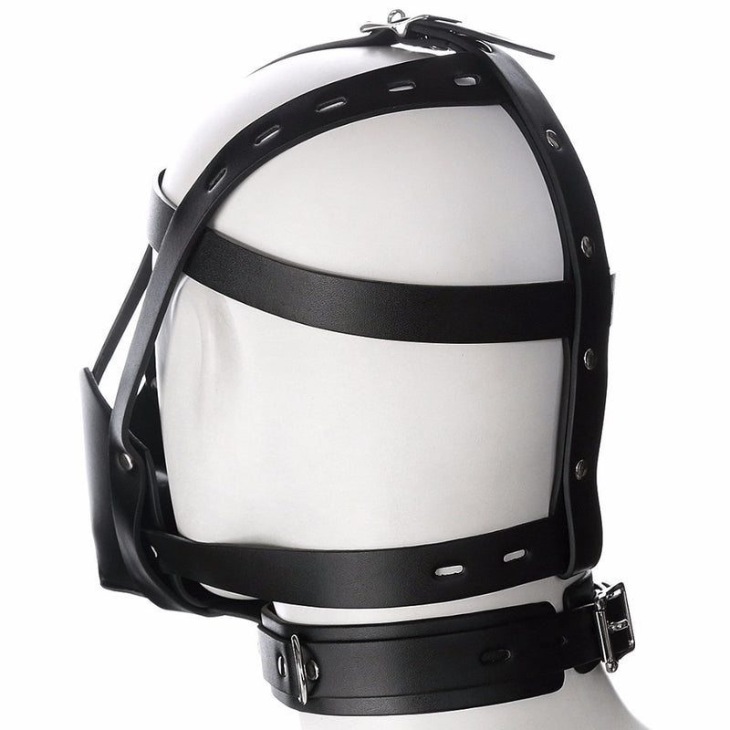 Fetish mouth gag headgear PU leather mask hood head bondage restraint harness adult SM costume sex game toy for women men couple