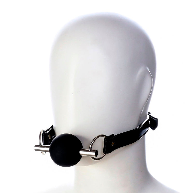 Black Steel Pipe Silicone ball open mouth gag PU leather head bondage restraint adult fetish oral sex SM game toy for women men