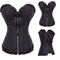 Women Halloween Zipper Bustier Top Corset Sexy Boned Waist Trainer Corset Overbust Brocade Plus Size Waspie Black