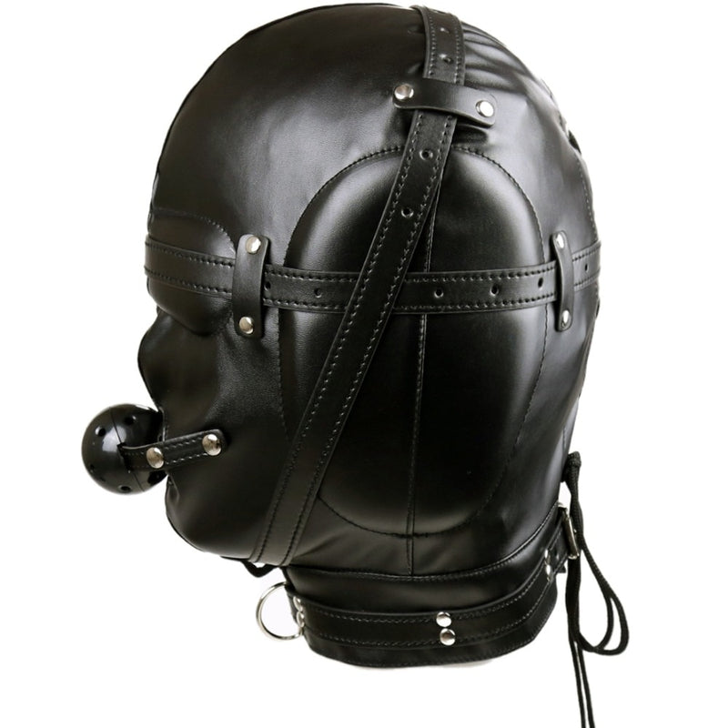 Leather fetish head bondage headgear mouth gag harness hood mask restraint adult SM sex slave game toy for women men gay couple