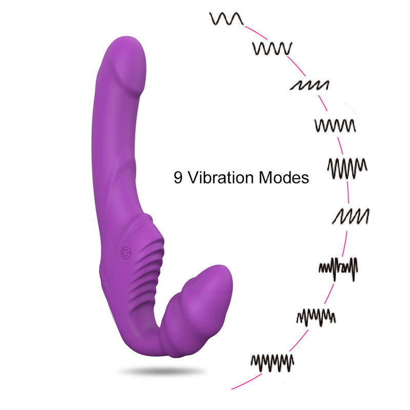 Lock vagina Strapless Strapon Dildo Vibrator 9 Speeds Double Vibrating Lesbian G Spot Clitoris Adult Sex Toys for woman