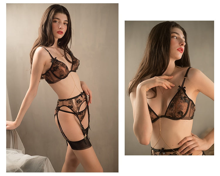 Women's Intimate Embroidery Thin Lingerie Lace Transparent Bra & Garter set