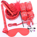 10 Pcs Bondage Set With Hand Cuffs Foot Cuff Whip Rope Blindfold & More...