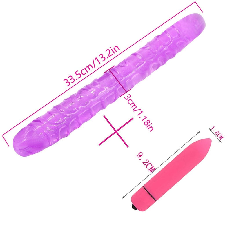 YEMA 2PCS/SET Long Double Dong Dildo with Mini Bullet Vibrator Sex Toys for Women Couple Lesbian Anal Butt Plug for Gay Adult