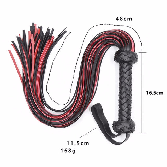 Leather Pimp Whip - Red & Black