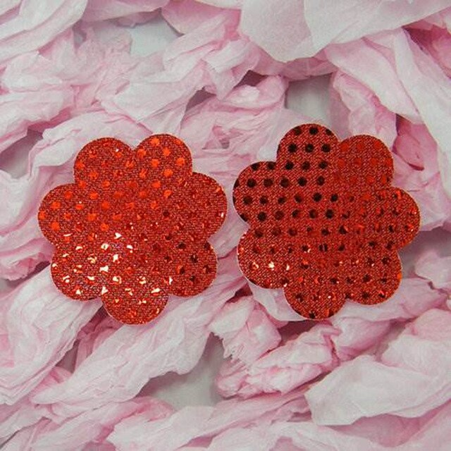 1 Pair Women Sexy Sequin Nipple Covers Red Butterfly Heart Flower Star Women Intimates Accessories Pasties Petal Pads NCS020