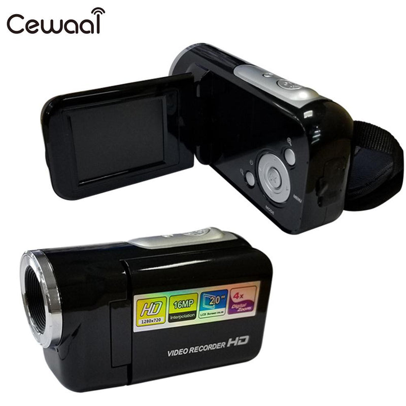 Cewaal 4X Zoom FULL HD Camera 2''LCD 1.6MP Video Camera 1080P Handheld Digital Camera Professional Camcorder Photography Black