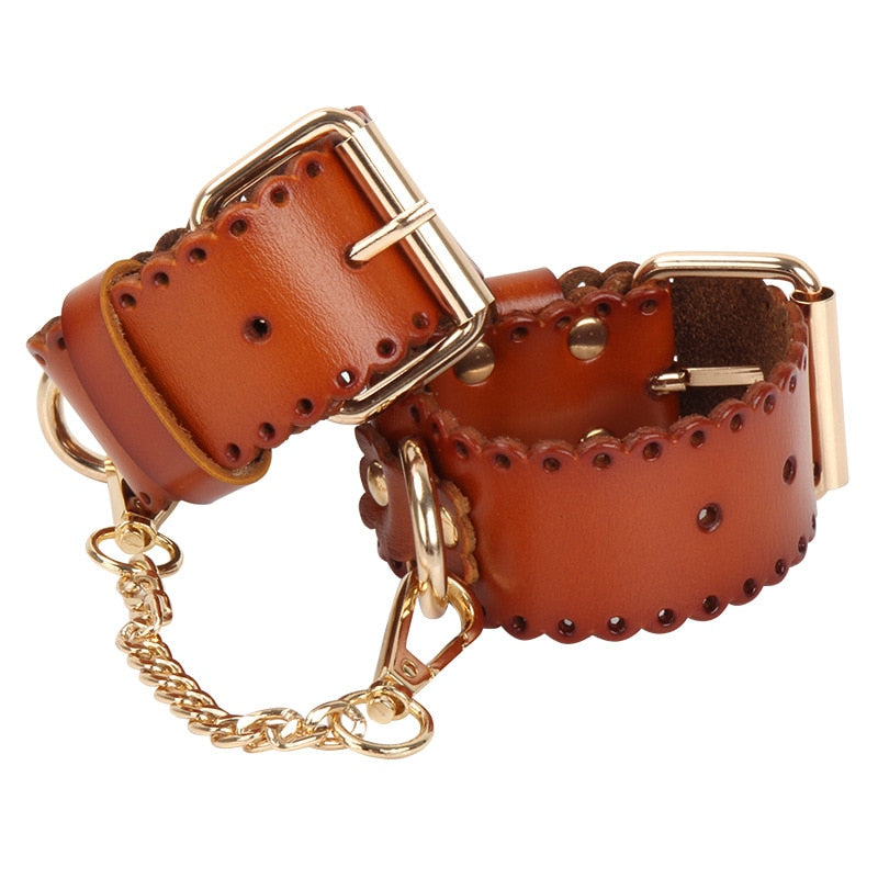 New Arrival High Quality Brown Real Leather Handcuffs For Women Sex Props BDSM Hand Bondage Fetish Erotic Harness Female Toys