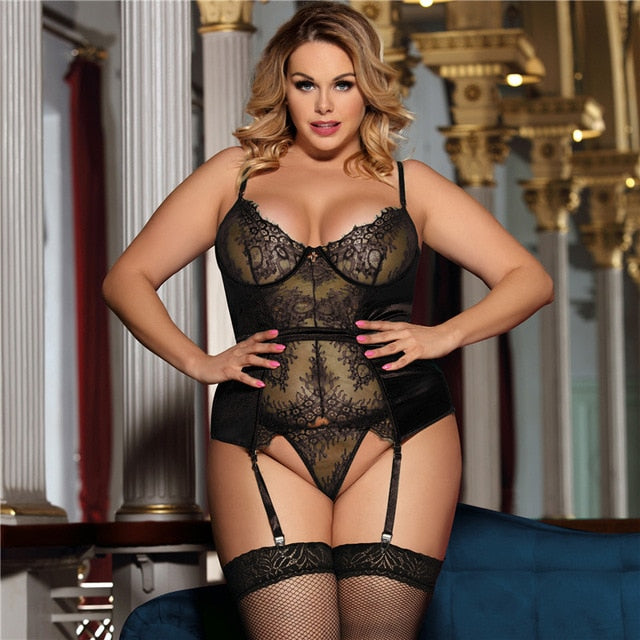 Big Size Lace Babydoll Women's Erotic Underwear 3XL 5XL Black See Through Body Sexy Lingerie Feminina With Garter Belt RS80766