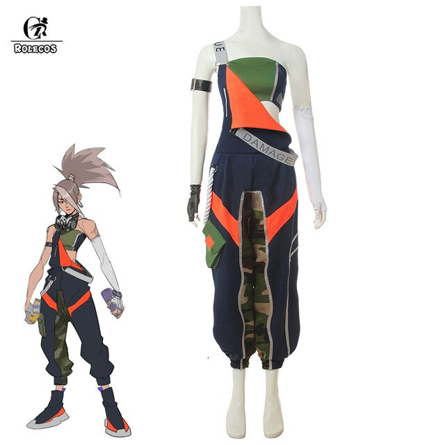 ROLECOS Akali Cosplay Costume True Damage LOL Cosplay Game Women Sexy Costume Akali Overalls Suspender Trousers for Halloween