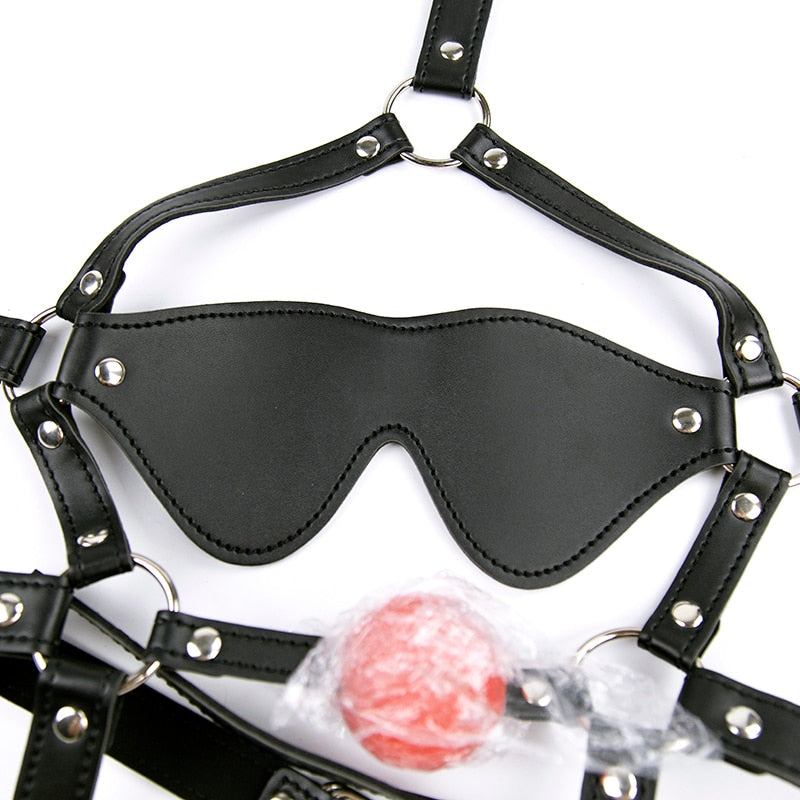 PU Leather eye mask head harness bondage open mouth gag restraint red silicone ball adult SM sex game toy for women men couple
