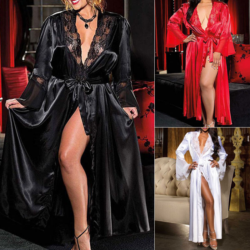 Lingerie for Women Sexy Long Lace Dress Erotic Sexy Lingerie Exotic Apparel Large size Lace Robe Sexy Night Gown Sleepwear