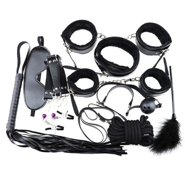 Adult Games BDSM Bondage Restraint Belt 10pcs/set Sex Handcuffs Nipple Clamp Whip Collar Love Kit Sex Toys for Couples
