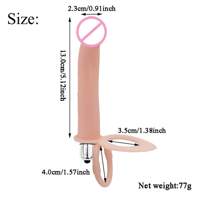 Double Penetration Strap On Vibrator with 10 Speeds