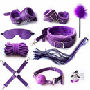 10pcs PU Leather BDSM Sex Bondage Set Erotic Accessories Adjustable Handcuffs Whip Rope Sex Toys for Couples Adult Games