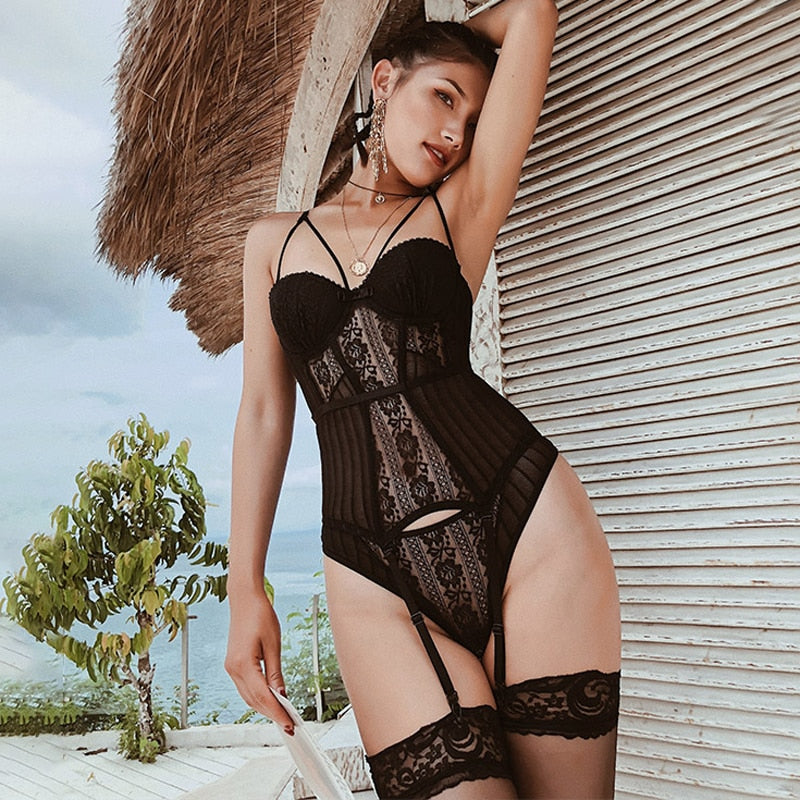 TERMEZY Sexy Corset Lace High Elasticity Bustier With Thong G String Set Straps Belt Breathable Fabric Lingerie Corset for Women