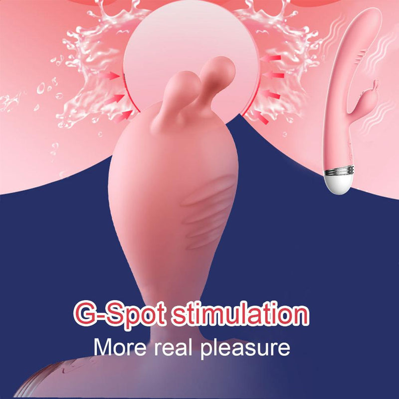 G-spot Rabbit Double Vibrator for Woman  Strapon Masturbation Clitoris Stimulator Dildos Waterproof Rechargeable Adult Sex Toys
