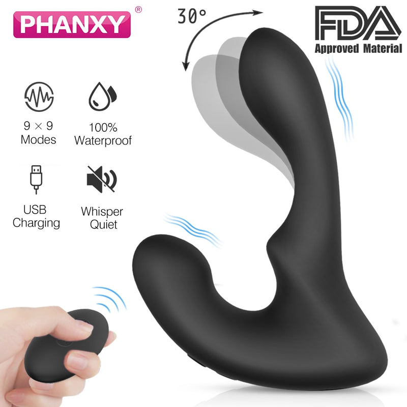 PHANXY Remote Control Male Prostate Massager Vibrator For Men Tail Anal Plug Sex Toys Silicone Butt Plug Sex Toy For Gay Couples