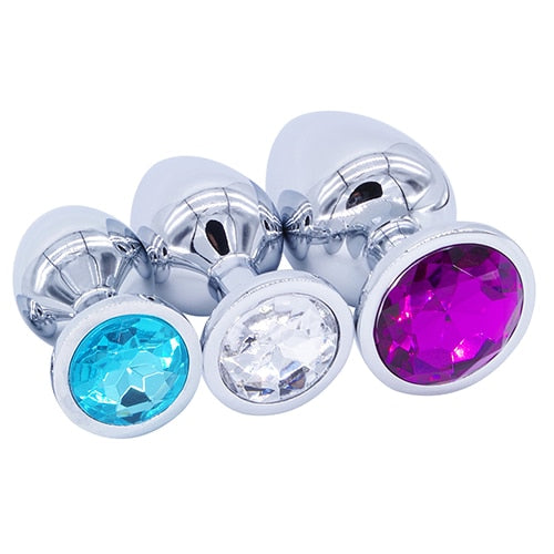 3 Piece - Small Stainless Steel Jeweled Butt Plugs