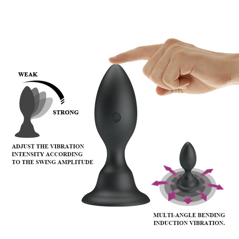 Powerful Bending Induction Vibration Anal Vibrators Sex Toy For Adult Silicone Vibrating Butt Plug With Strong Suctoin Base