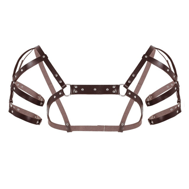 MSemis Unisex Men Male Sexy Body Chest Harness Belt Gothic PU Leather Arnes Hombre Cosplay Club Muscle Costumes