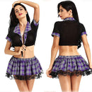 New Women Babydoll Sexy Schoolgirl Cosplay Role Play Costumes Plaid Night Halloween Sex Uniform Erotic Costume Sexy Lingerie