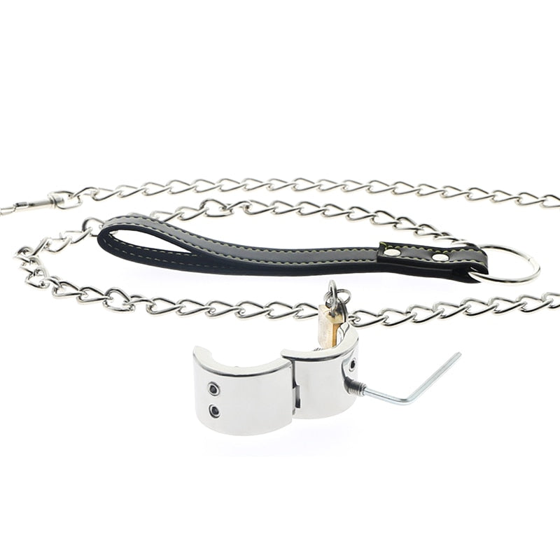 Piercing Chamber Ball Stretcher Metal Scrotum Pendant Ball Ring with Leash Chain Testis Weight Cock Ring CBT Devices