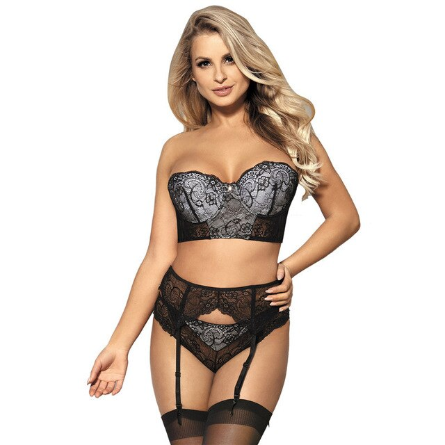Sexy Transparent Bra And Panty Set 5XL Big Size Women Erotic Underwear Black Lace Lingerie Set Feminina With Garter Belt RS80457