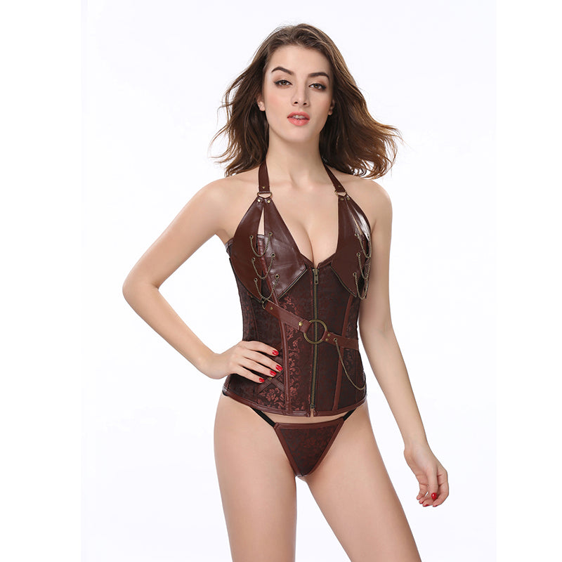 Women Body Shaper Corsets And Bustiers Leather Lace Up Halter V Neck Korsett For Women Sexy Brown Waist Corset 5XL 6XL AS2231