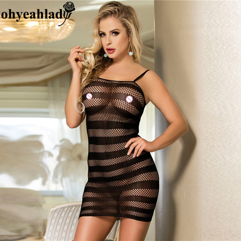 Ohyeahlady HS31021 Baby Doll Sexy Lingerie New Arrival Sexy Lingerie Black Erotic Lingerie Sexy Costumes Fishnet See Through