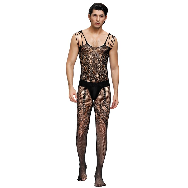 Strappy Shoulders Men Bodystockings Hollow Out Floral Sexy Bodysuit Backless Mesh Open Crotch Fishnet Body Transparente MPS160