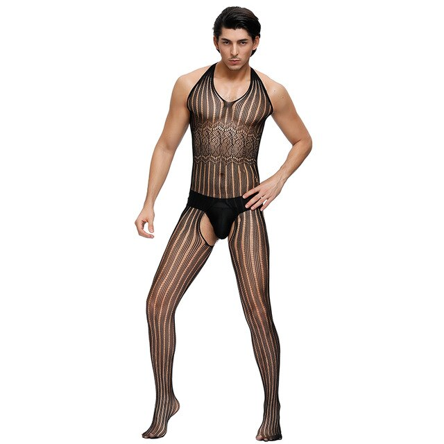 Sexy Men Sissy Body stocking Gay Bodystockings Lingerie Bodysuit Crotchless Transparent Pantyhose Gay Underwear Tights MPS158