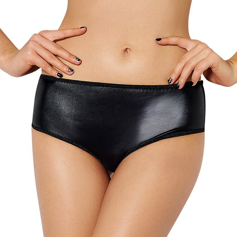 Knickers Women Faux Leather Plus Size Panties Hot Black Solid Mid Waist Soft Sexy Underwear Women Panty With Chain PS5062