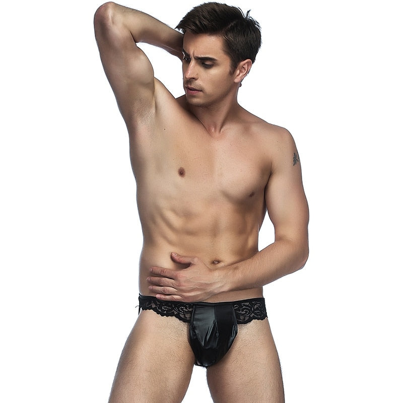 Erotic Male Ropa Interior Gay Underpants Open Back String Sexy Homme Black Low Waist Lace Leather Mens Thongs Underwear MPS063
