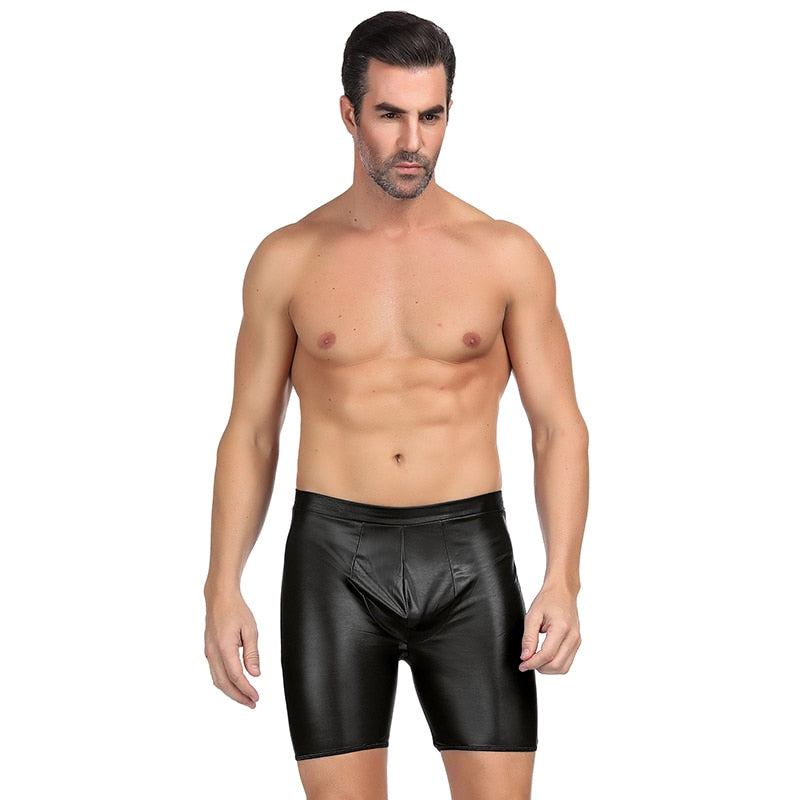 Boxer Homme Sexy Gay With Exposed Hips High Waist Solid Faux Leather Boxershorts Men Underwear Plus Size Cuecas Boxer MPS064