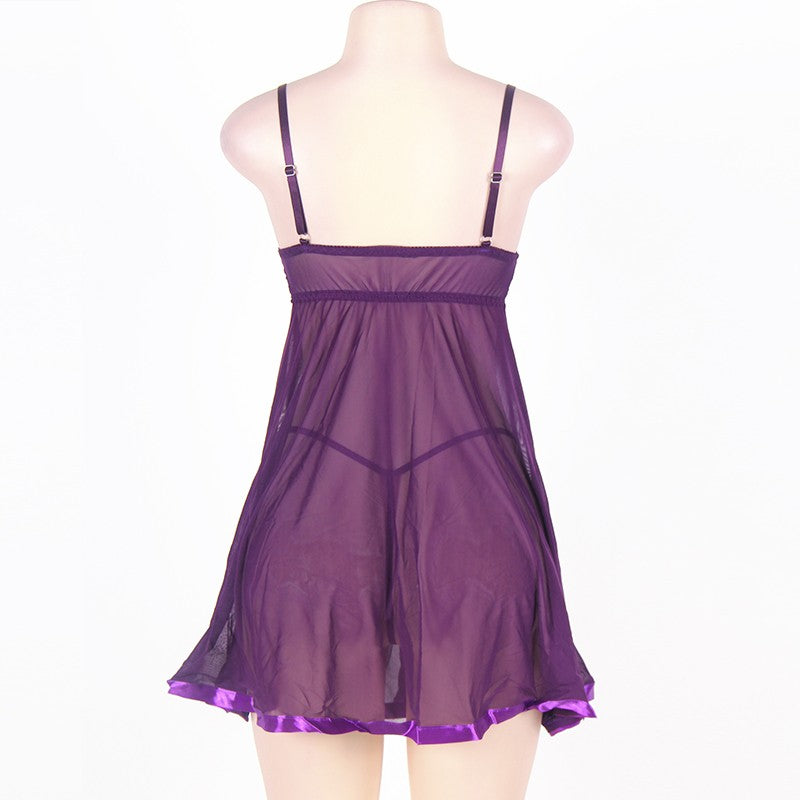 Sex Dress For Women Disfraz Mujer Sexy Mesh Sex Underwear With G string Pink Purple Black Transparent  Baby Doll Mujer RS77631