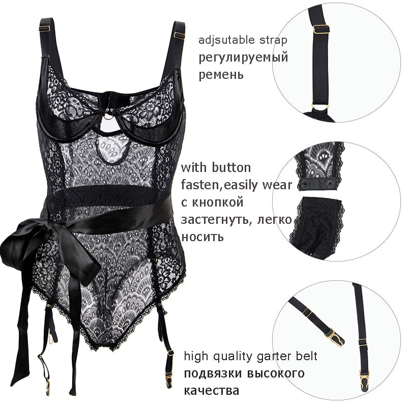 Peacock&Floral Pattern Patchwork Lace Bodycon Women Bow Belt Sheer Bodysuit Plus Size 3XL 5XL Sexy Mesh Body Dentelle RS80623