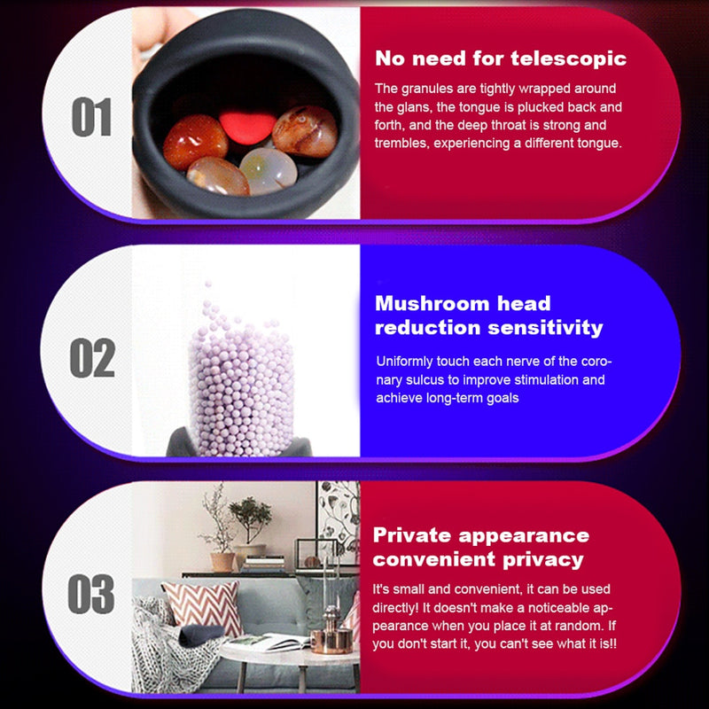 6 Modes Glans Vibrator Penis Massager Exerciser Male Masturbator Ejaculation Delay Last Trainer Adult Sex Toys for Men Sexo