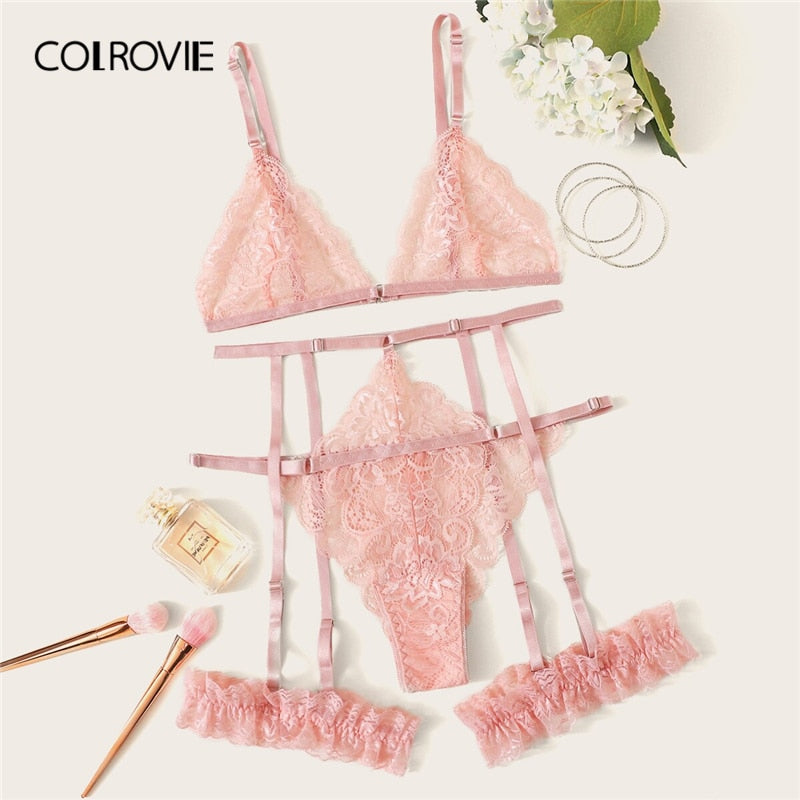 COLROVIE Scalloped Trim Floral Lace Garter Lingerie Set Women Bralettes Intimates 2019 Bra And Thongs Ladies Sexy Sets