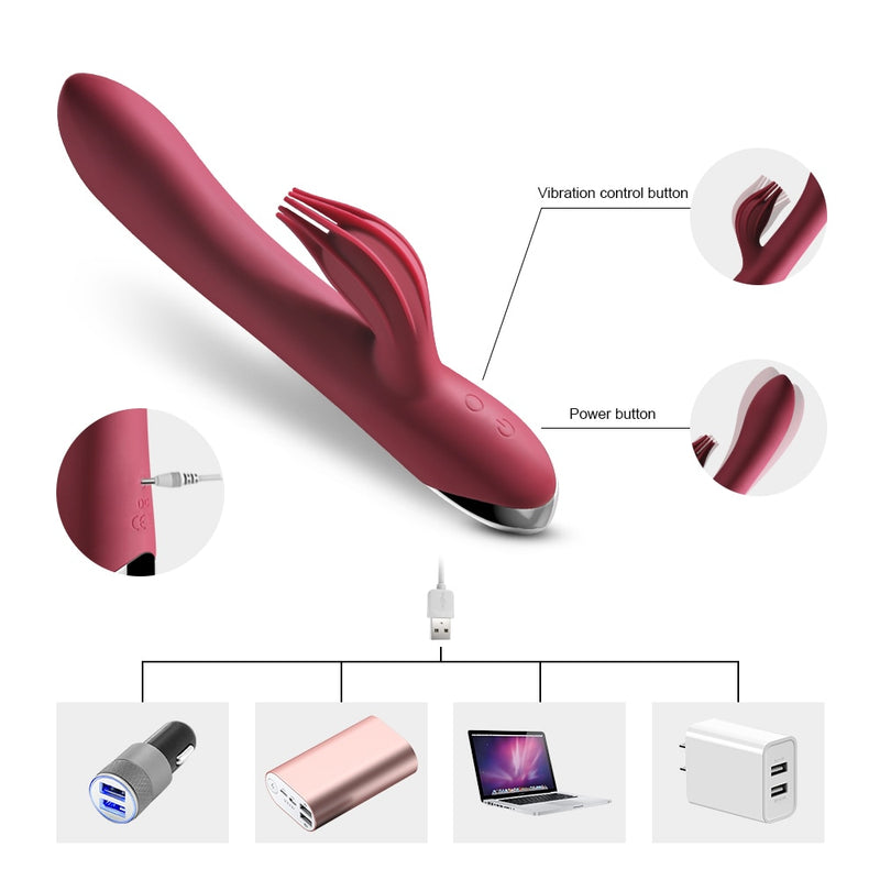 Vibrator G-spot 10 Speed USB Rechargeable Powerful Dildo Rabbit Vibrator for Women  Clitoris stimulation Massage Adult sex toys