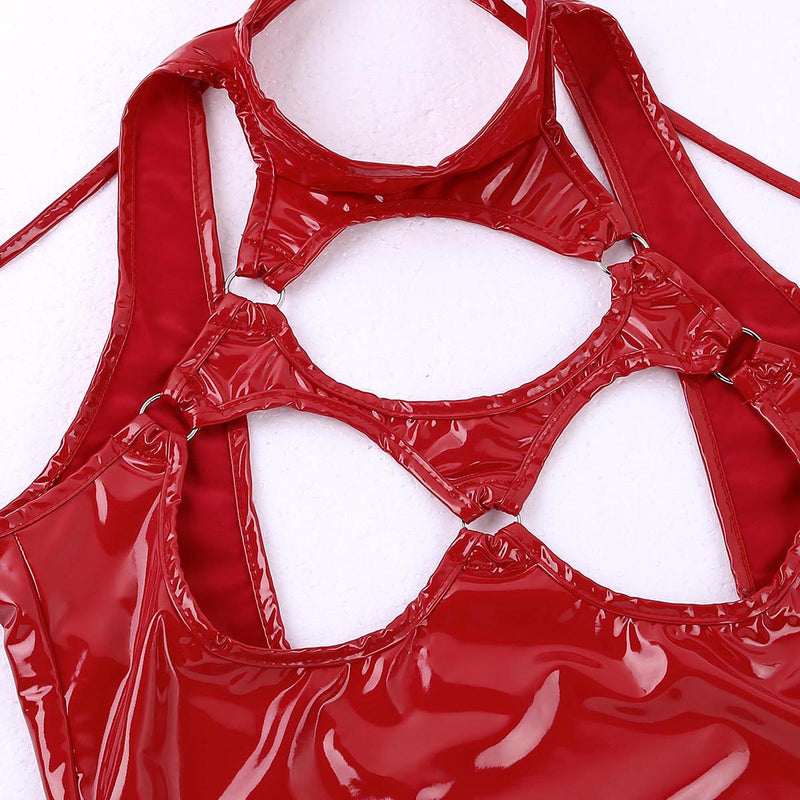 TiaoBug Women Patent Leather Solid Color Crotchless Bodysuit Sexy Lingerie Halter Sleeveless Open Cups Sexy Costume Nightwear