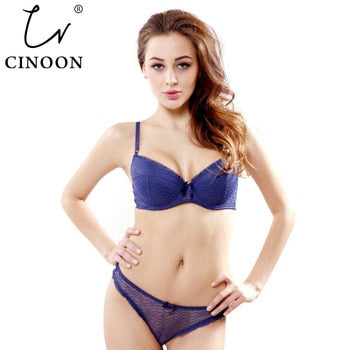 CINOON Undiz-VS Thong Bra Set Push Up French Embroidered Lace Women's Underwear Sets ABCD Cup Bra And Panty Deep V Intimates