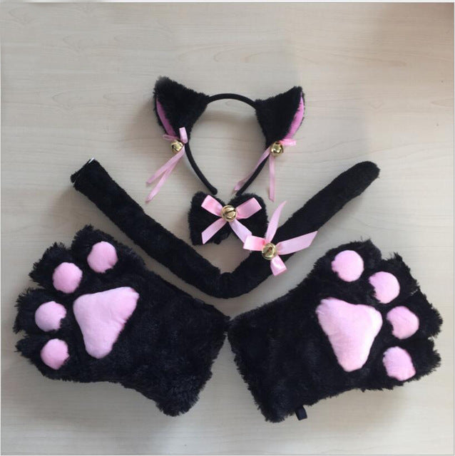 New Arrive Cute Sexy Kawaii Kitty Cat Embroidery Meow star Keyhole Hollow Bra And Underwear Love live Anime Cosplay Lingerie Set
