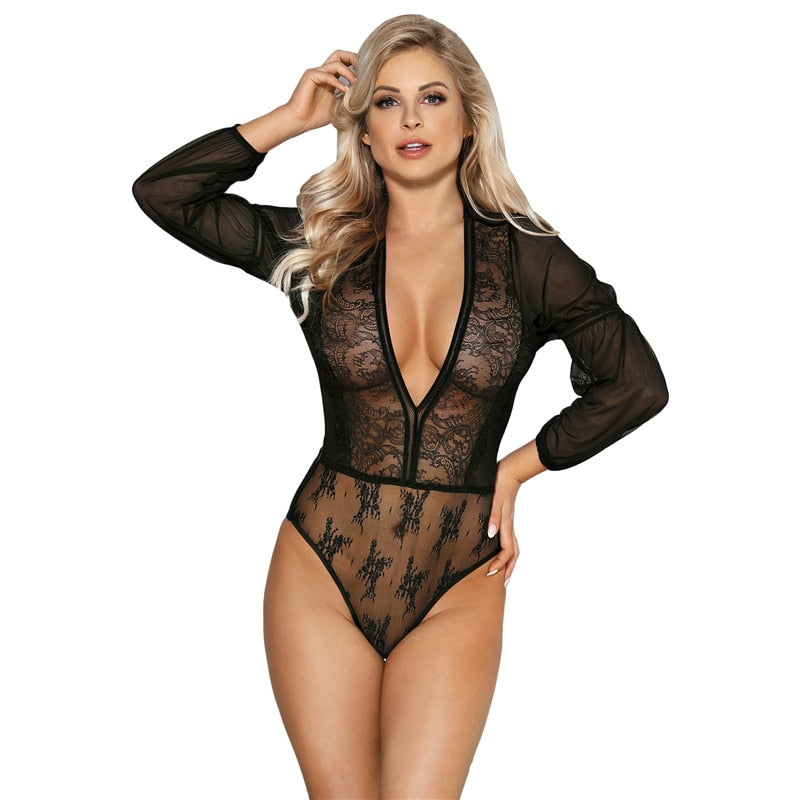 Women Bodysuit Transparent Long Sleeve Bodysuit Hot Sexy Deep V Neck Lace Mesh Bodysuit Plus Size Mameluco Mujer RS80542