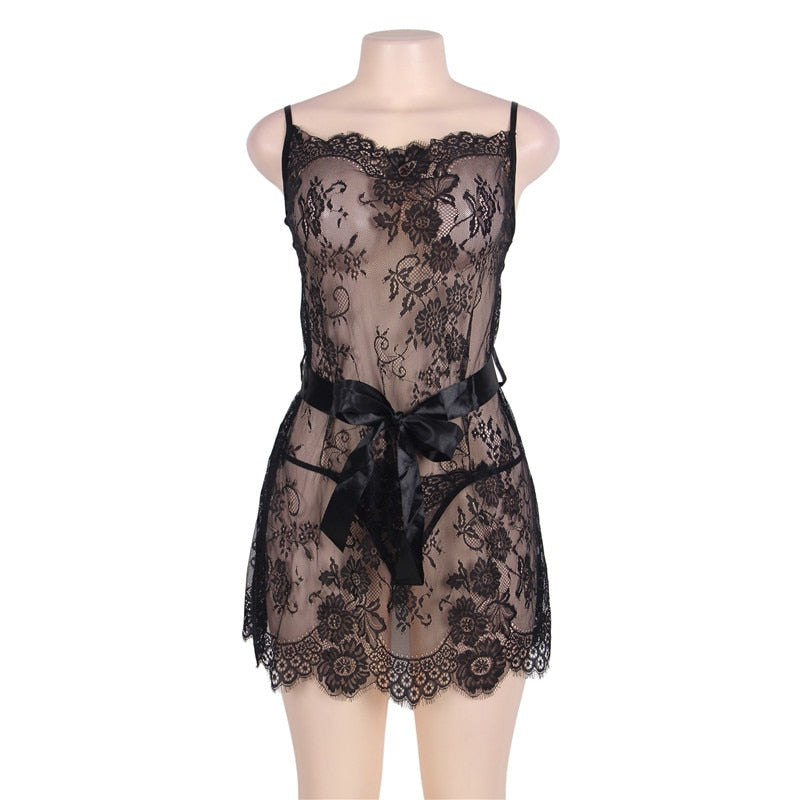 RS80455 Camisola Sexy Lingerie Sheer Lace Nightdress M L Woman Spaghetti Strap Thin See Though Above Knee Black Lace Nightgown