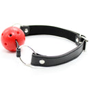 5cm red hollow ball open mouth gag leather head harness bondage restraint adult fetish oral SM sex game toy for women men couple