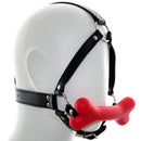 Silicone dog bone leather head bondage restraint harness open mouth gag fetish SM adult game oral sex toy for women men couple