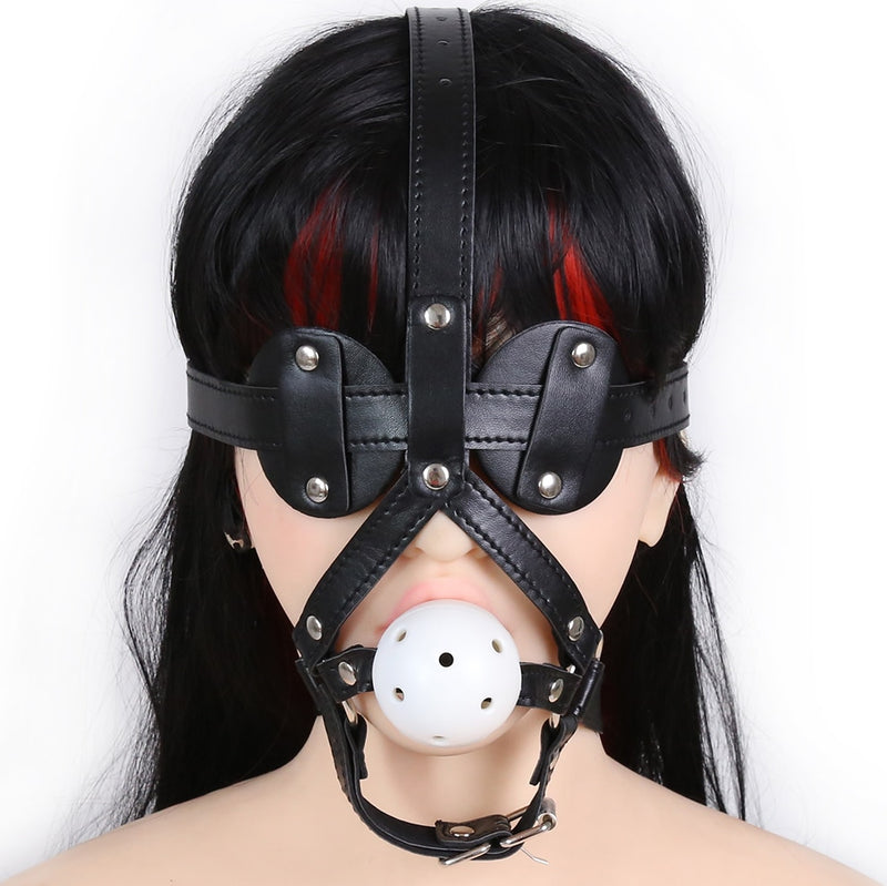 5cm ABS ball open mouth gag PU leather head harness bondage restraint eye mask adult fetish sex SM game toy for women men couple