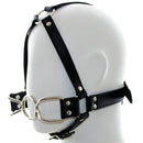 Leather head bondage restraint harness metal steel rings open mouth gag adult game SM blow job oral sex toy for women men couple